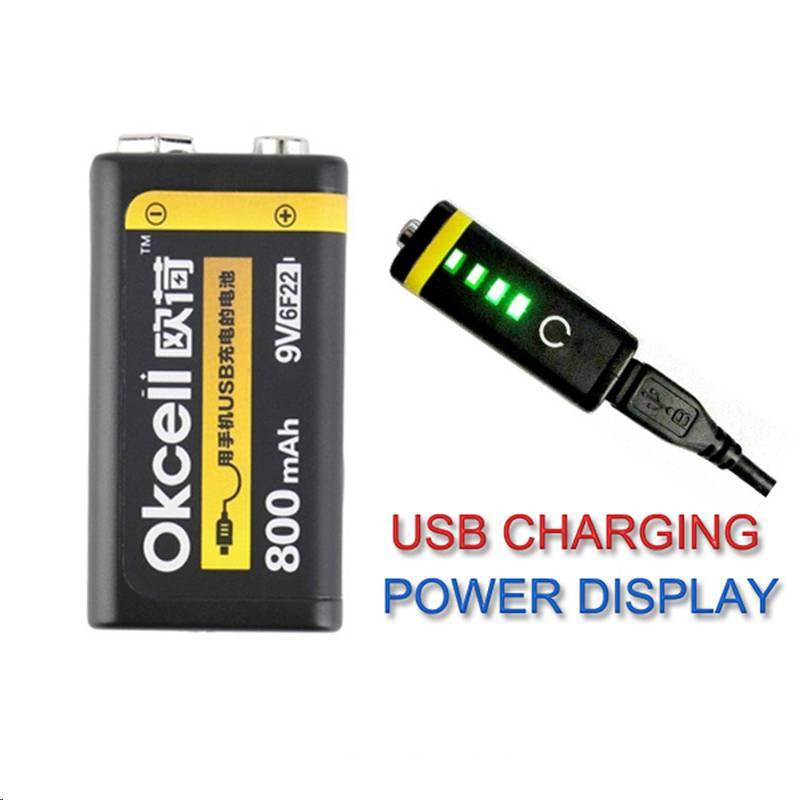 El más nuevo 1/2 unids OKcell 9 V mAh 800 USB batería recargable Lipo para RC helicóptero modelo micrófono