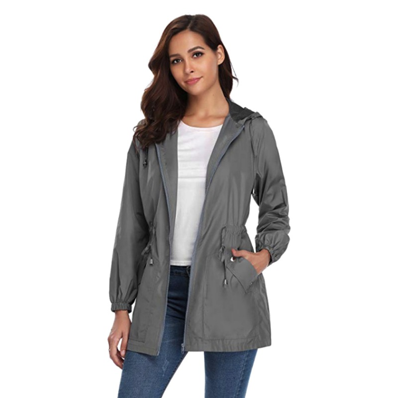 Outdoor Waterproof and Sleeve   Trench   Zipper Light Autumn Windproof A-line Weight Hooded Decro Women Raincoat Full