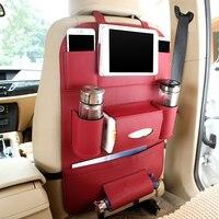 2017 Leather Car Seat Back Folding Portable Storage Bag Multi-use Car Organizers Black Car Portable Storage Bags Car Organizer