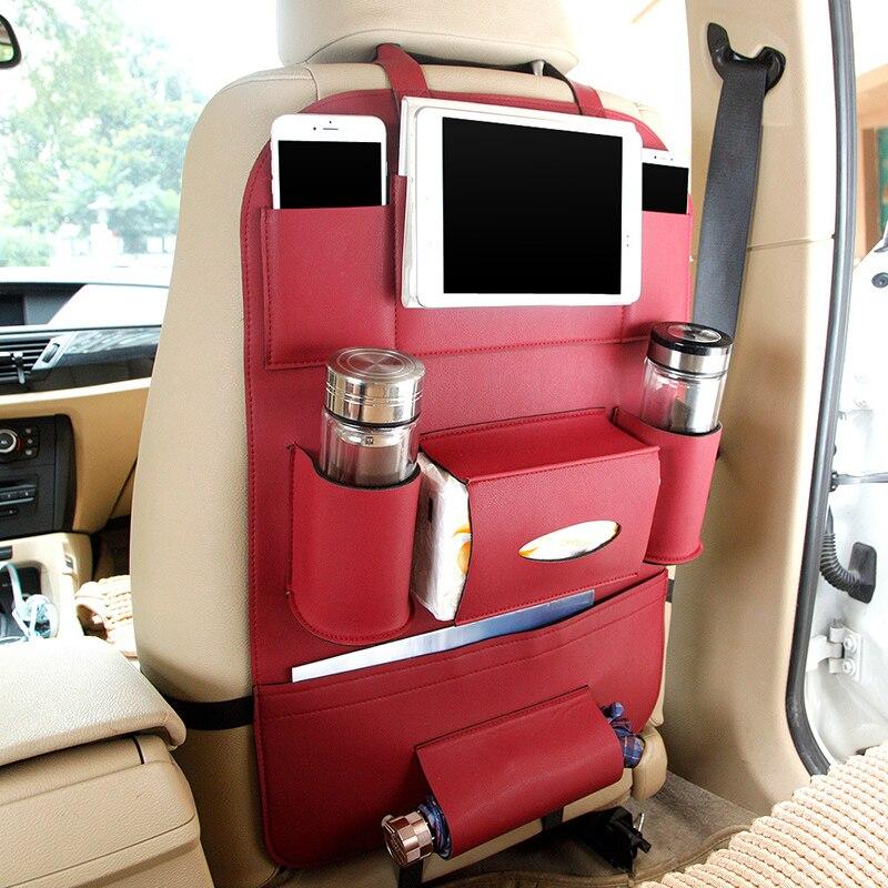 2017 Leather Car Seat Back Folding Portable Storage Bag Multi-use Car Organizers Black C ...