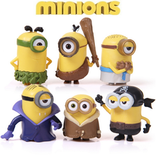 2015 new 6pcs/lot Minions new model cosplay vampire & primitive & pirate 6cm Minion action figure model toys juguetes hot