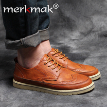 Retro Hombres de Cuero Zapatos Casuales Brogue hombres Pisos Zapatos Para Hombres de la Marca de Lujo de Cuero Genuino Tamaño Grande Oxfords Hombre calzado