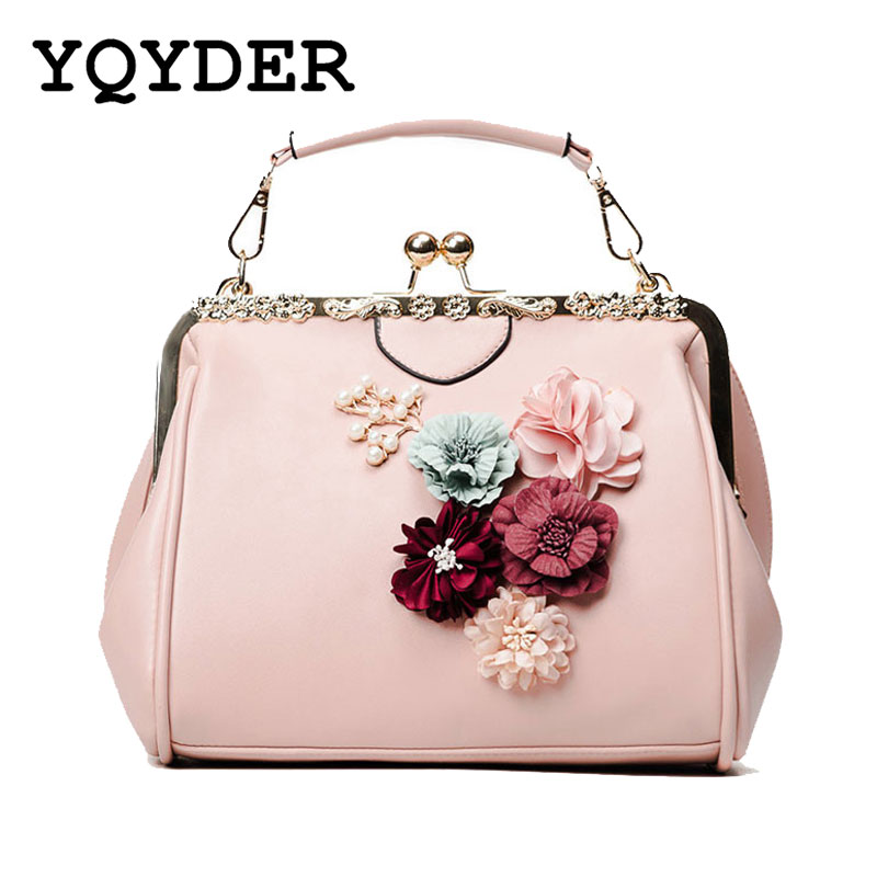 YQYDER New Woman Bags Flower Metal Frame Handbag Beaded Messenger Bag PU Crossbody Bag Brands Design Female Tote Pouch Sac