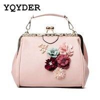 YQYDER New Woman Bags Flower Metal Frame Handbag Beaded Messenger Bag PU Crossbody Bag Brands Design