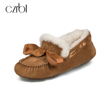 CZRBT Women Shoes Winter Warm Wool Loafers 100 Cow Suede Flat Shoes Woman Butterfly Knot Round