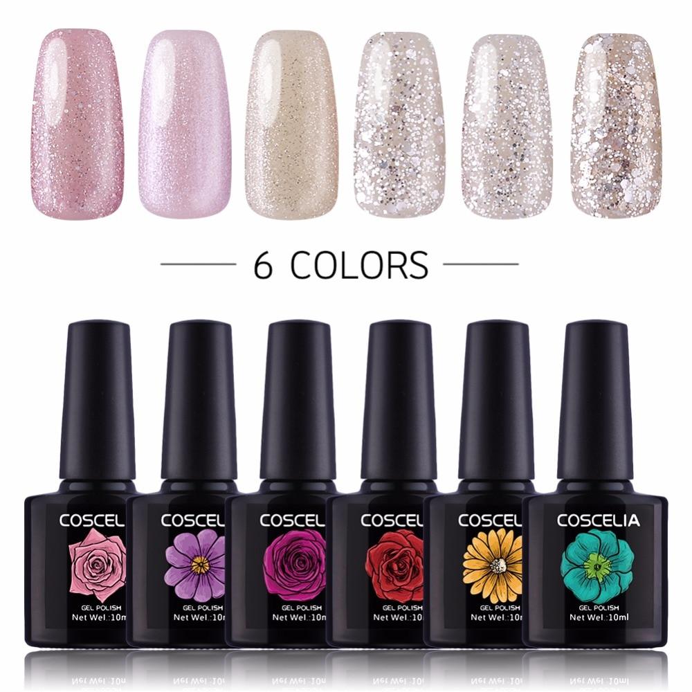 цена на 6pcs Gel Nail Polish Nail Art 10ml Soak Off Gel Nail Polish Set For Manicure Pedicure UV Gel Nail Polish Set Pink Series