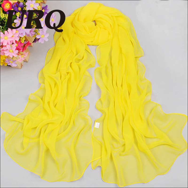 URQ Chiffon Silk   Scarf   for woman Fashion solid silk   scarves   spring women's plain girl   scarf   polyester   wrap   female P5A16017