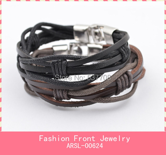 2014 New Fashion Men Leather Punk Bracelet Jewelry Bijoux Wristband Stainless Steel Bracelets Bangles for Men