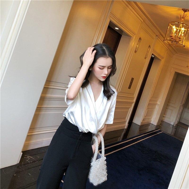 Women V-Neck Solid White Party Shirts Elegant Silk Satin Short Sleeve Loose  Office Ladies Blouses  baa590072