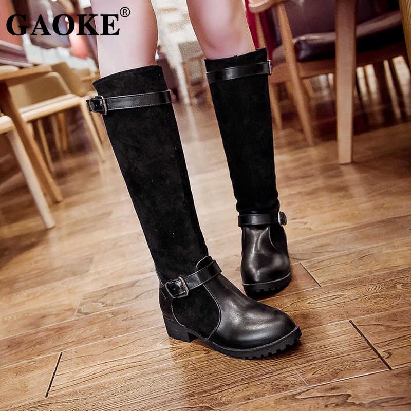 5ea78499f Женские сапоги, новинка 2018, Осень-зима, модные сапоги до колена на  платформе