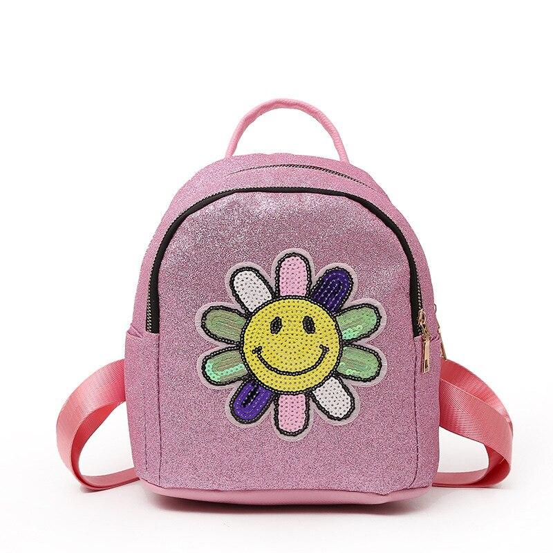 Flowers Bling Plush Backpack Cartoon School Shoulder Bag Kid Plush Soft Baby Toys Kids Gift 8440-2