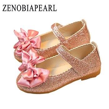 best authentic 06081 3aa8b ZENOBIAPEARL Mädchen Prinzessin Schuhe Gold Rosa Splitter Leder Mädchen  Kinder Schuhe für Dance Party Prinzessin Mädchen Einzigen Schuhe