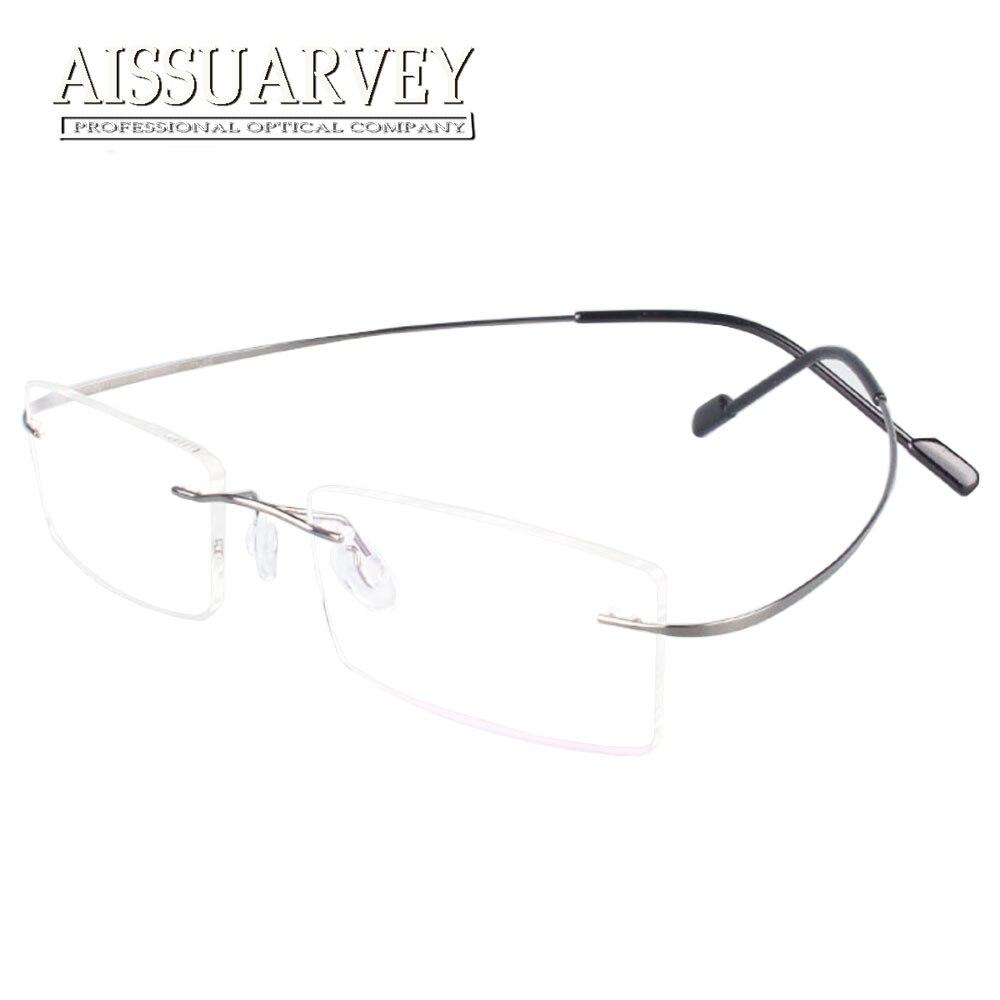 Óculos sem aro de Titânio Quadros Homens Mulheres Óculos de Marca de Moda  Designer de Óculos de Prescrição Óculos de Qualidade Superior Clássico Novo d0e3d11e8d