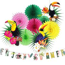 Tropical Bird Toucan Hanging Paper Fans Summer Banner Luau Hawaiian Pool Beach Jungle Summer Party Event Decorations 10pcs 12pc summer party decorations sunflower pom poms hanging swirls paper fans tropical hawaiian luau sunshine birthday shower