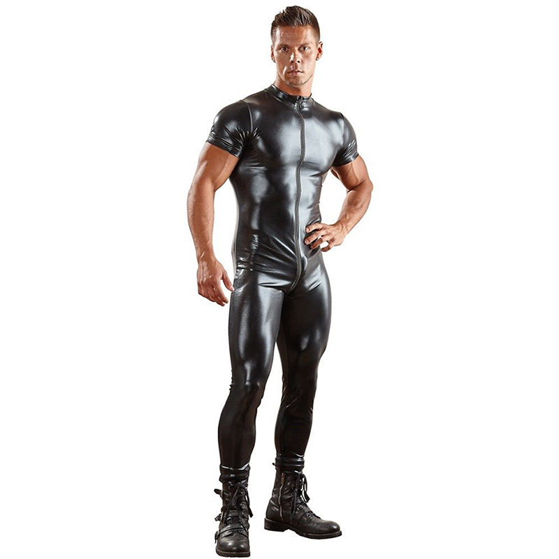 Sex Bodysuit Sexy Mens Leather Catsuit Mens Clothing One Peice Short Sleeve Jumpsuit Black Men T Shirt Zipper Pants