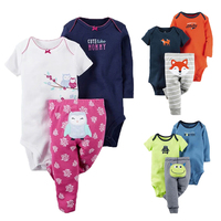 3Pcs Baby Boy Clothing Set Spring Baby Rompers Newborn Clothes Cotton Baby Girl Clothes Roupas Bebe