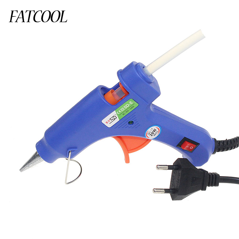 1Pcs Professional High Temp Heater Melt  Hot Glue Gun 20W Repair Heat Tool Heat Gun Blue Mini Gun EU Plug
