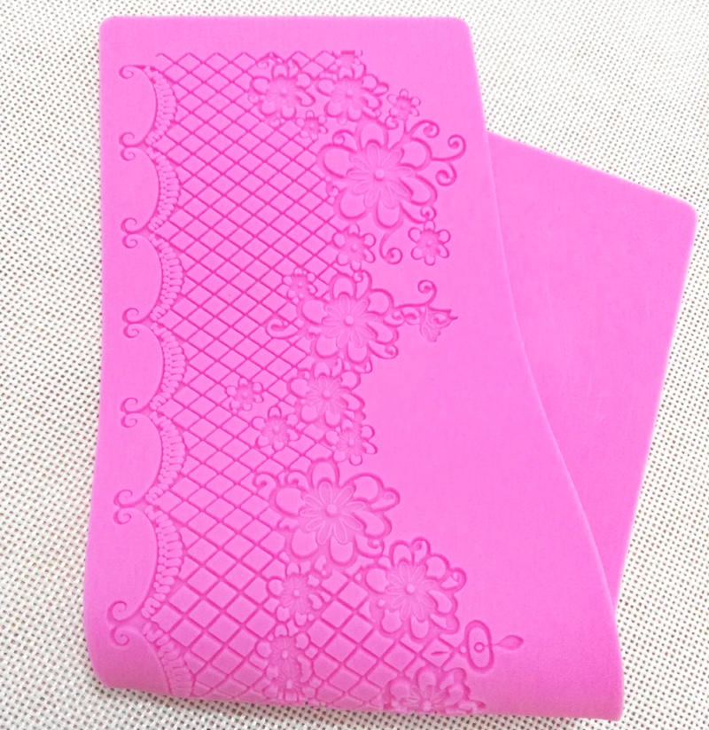 MX099 Elegant model de flori Lace Mould Silicon Sugar Lace Pad Tort Brim Decorare Mold Bucătărie DIY instrument