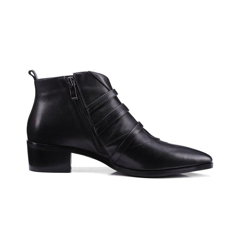 Otoño Zapatos Tobillo Corta Genuino Punta Bota Negro Bolso De Metal Celebridad Botas Cuero Marca Black Mujeres Enmayer Cr444 Med Tacón 0Anaq6n