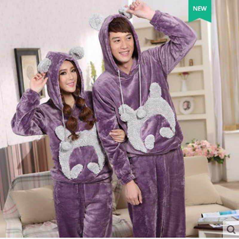 Women's Sleepwear Winter Warm Long Sleeves  Flannel Cartoon pyjamas Men And Women Match Pajamas Set With Hat trousers