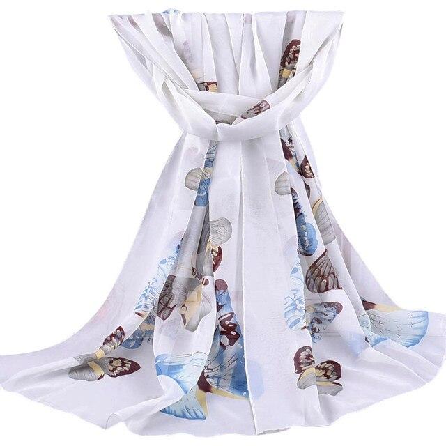 Butterfly Printed Scarf Women Ladies Fashion Long Soft Chiffon Sunscreen Shawl Wraps silk scarf Summer foulard femmeH2Z1