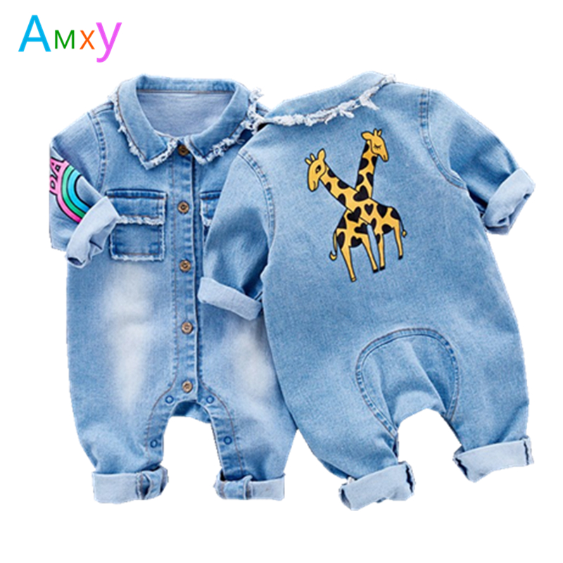 AIMEIXIUYI 2017 New Baby Rompers Cartoon Giraffe Rainbow Pattern Long Sleeve Denim Overalls Jumpsuits Kids Clothes Bebe De Roupa cotton baby rompers set newborn clothes baby clothing boys girls cartoon jumpsuits long sleeve overalls coveralls autumn winter