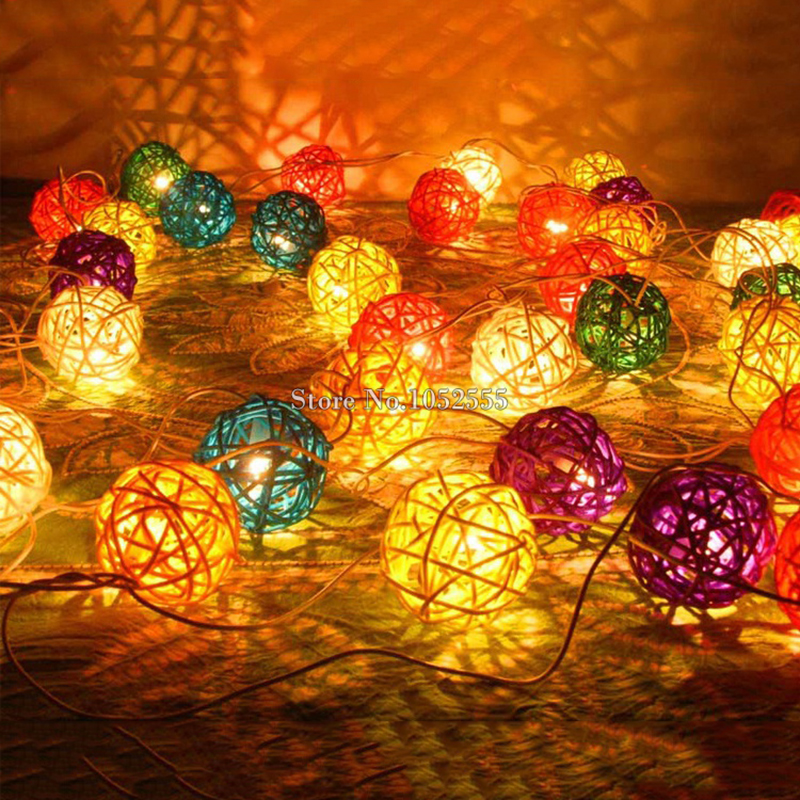 1piece waterproof solar powered lamps rattan ball string lights outdoor garden decoration 9m 20leds xmas christmas lights