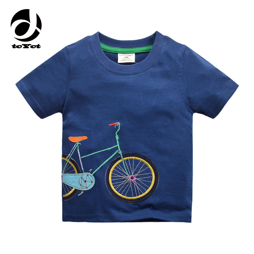 Cotton Boys T-shirt 2018 New Summer Style Abbigliamento per bambini Abbigliamento per bambini Top New Fashion Bicycle Pattern Boys T Shirt
