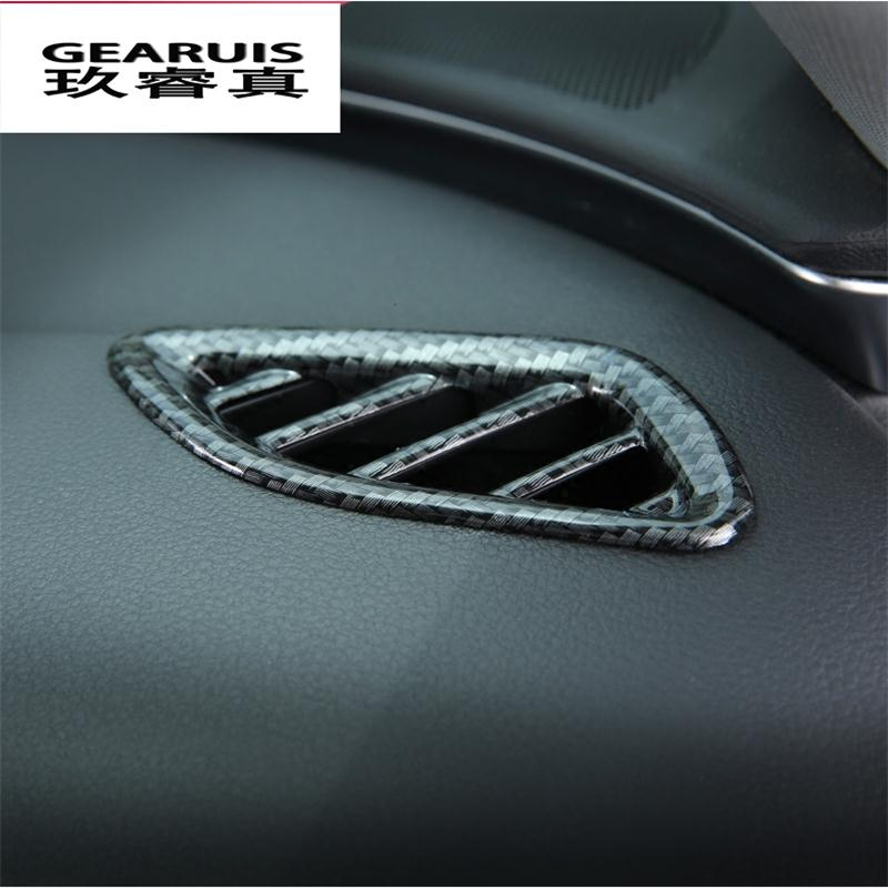 Car front air conditioning vents decal frame cover trim air outlet Chrome strip carbon fiber stickers for Audi A6 A7 2012-2017 stainless steel car interior dashboard side air conditioning outlet vents decorative cover trim strip for audi a3 8v 2013 16