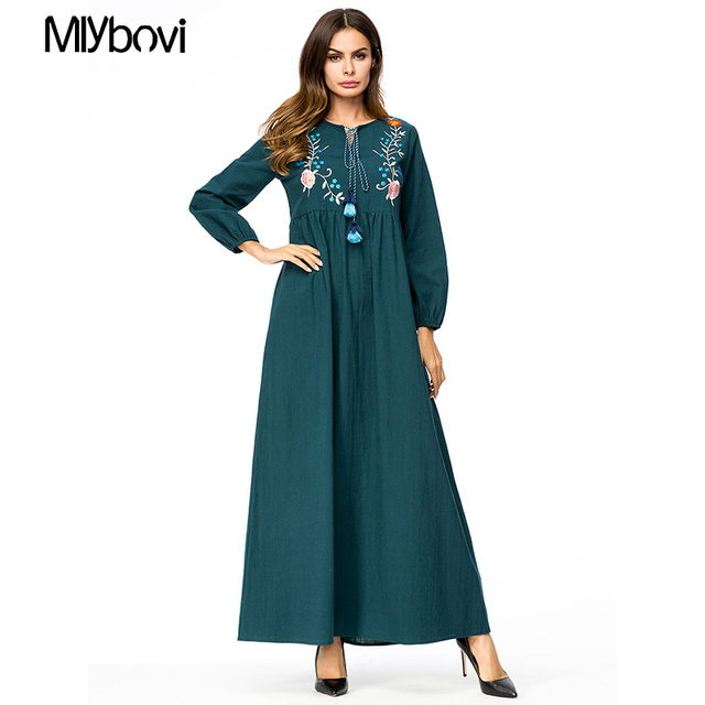 8b24b16a2a952 US $27.53 49% OFF|Casual Maxi Dress Green Embroidered 4XL Long Sleeve  Moroccan Kaftan Dubai Abaya Dress Islam Turkish Caftan Islamic Clothing  Plus-in ...