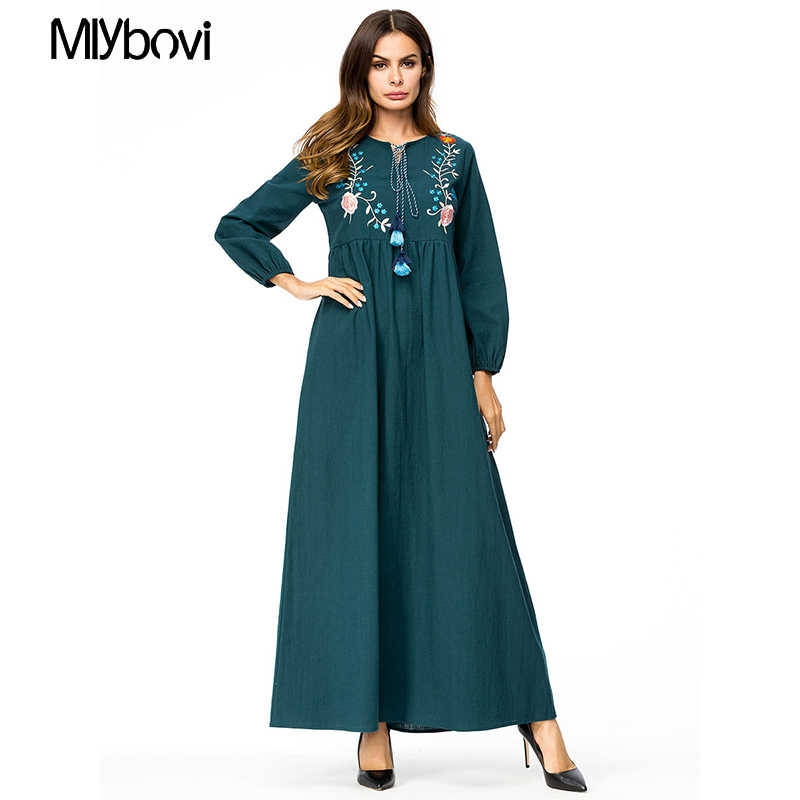 97253a3f1a647 Casual Maxi Dress Green Embroidered 4XL Long Sleeve Moroccan Kaftan Dubai  Abaya Dress Islam Turkish Caftan Islamic Clothing Plus