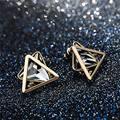 Simple Triángulo Geométrico Pendientes Cristalinos Del Perno Prisionero Para Las Mujeres Accesorios de Joyería de Moda Bijoux