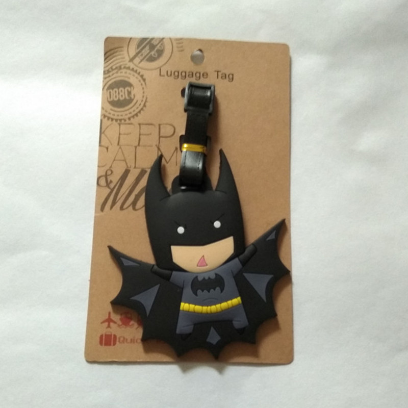 PU Leather Luggage Tags Batgirl Suitcase Labels Bag Adjustable Leather Strap Travel Accessories Set of 2