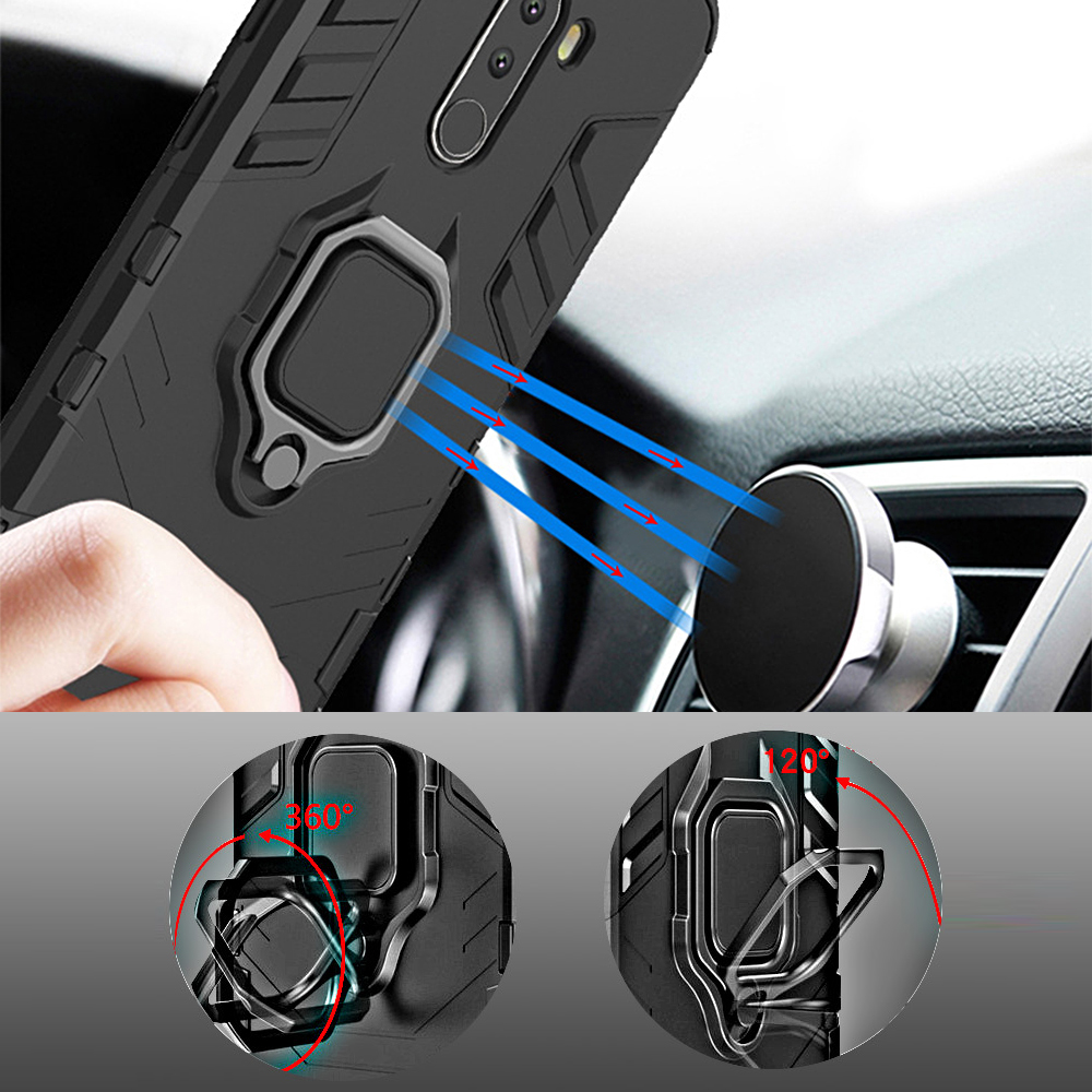 Luxury Armor For Xiaomi Pocophone F1 Case Shockproof PC+TPU Protective Back Cover For Poco F1 Case Magnetic Holder Ring Bracket