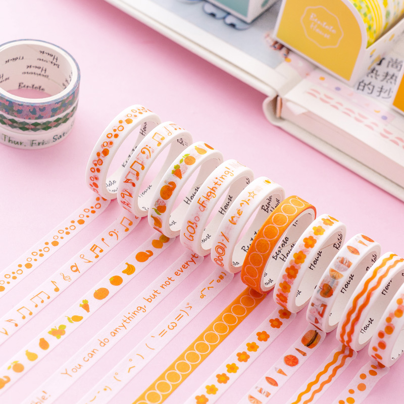 10pcs Sweet color washi tape set 8mm adhesive decoration masking tapes stickers scrapbooking album diary gift Stationery A6351 in Office Adhesive Tape from Office School Supplies