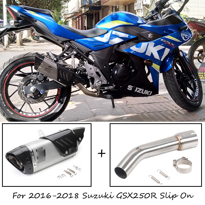 Motorcycle Exhaust System Slip On Middle Pipe Link For SUZUKI GSX250R 2017 2018