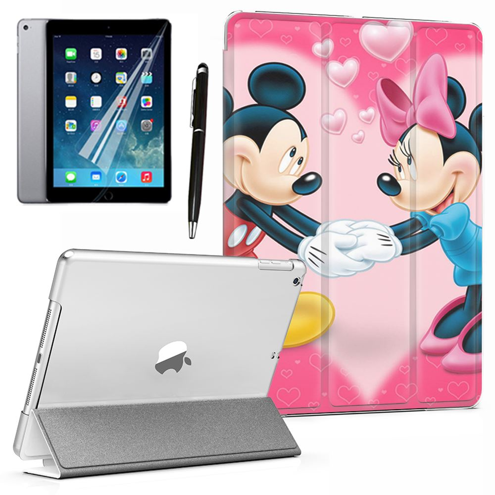 """Sweet Mickey Mouse Couple Fashion PU Leather Smart Case Cover Red For iPad Mini 2 3 4 5th 6th Air 9.7"""" Pro 10.5"""" 11"""" 12.9"""" 2018"""