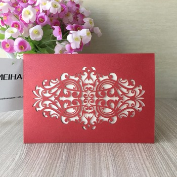 100pcs/set 21 Color Pocket Style Laser Cut Wedding Invitation with Chinese Red Purple ,Blue Delicate Carved Pattern High quality