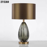 American Simple Luxury Glass Table Lamps Creative Post modern Designer Living Room Home Decor Table Lights Bedside Bedroom Lamps