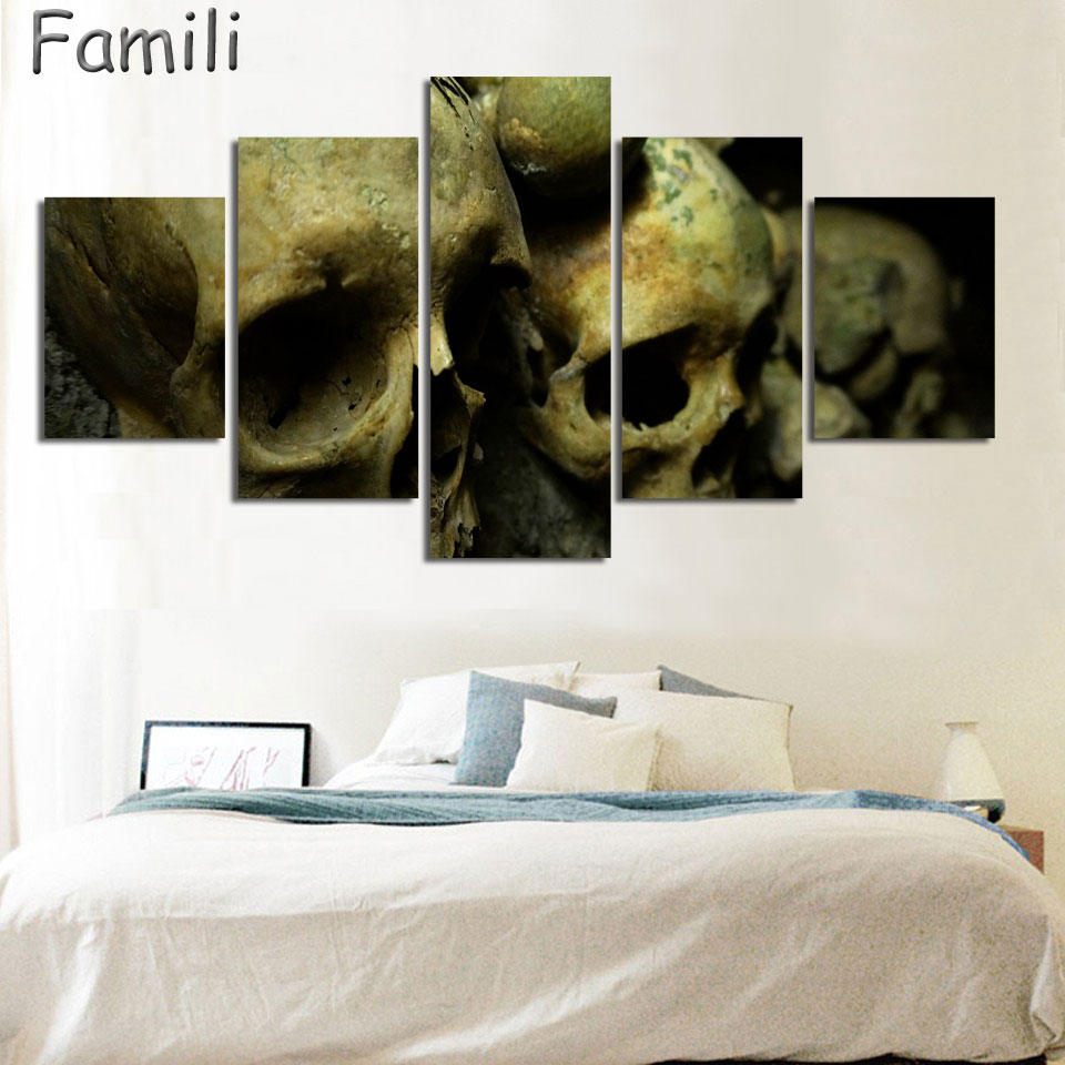 popular psychedelic oil art poster buy cheap psychedelic oil art 5 panels psychedelic skull hd print high quality canvas paintings for living room wall art modular