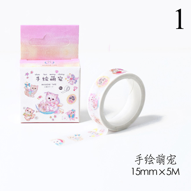 15mm*5m Kawaii Shiba Dog Cat Animals Paper Washi Tapes Diy Scrapbooking Decorative Masking Tapes For Decor Cute Stationery  by Moonovol