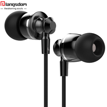 Langsdom M300 Metal Super Bass font b In ear b font Earphone Volume Control with Mic