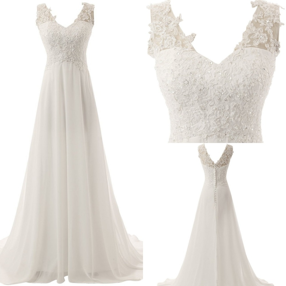 Ensotek 2020 Beach Wedding Dress vestido de noiva Plus Size V-neck Appliques Lace Chiffon Boho Wedding Gowns Bridal Dresses