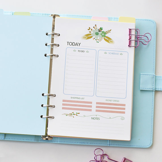 graphic relating to Planner Refills called Flower A5 Filofax Published inserts /weekly planner Refills