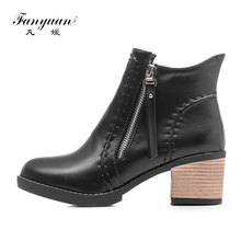 Fanyuan 2017 Western Style Zipper Autumn Shoes Women Square High Heel Black Ankle Boots Women Concise Fashion Boots Size 43