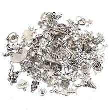 Dijes variados de plata tibetana chapados a la moda, dijes para pulsera, fabricación de joyas DIY, 100 unids/lote