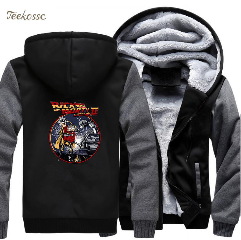 Back to the future Hoodie Men Rick And Morty Hooded Sweatshirt Black Grey Coat 2018 Winter New Brand Fleece Thick Funny Jacket