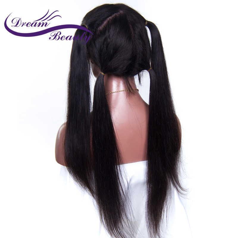 Sueño de belleza de 250 densidad brasileño recto pelucas delanteras de encaje con cabello de bebé 8-24 pulgadas Remy del cordón del pelo humano pelucas de cabello Natural