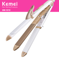 Kemei 2 In 1 Multi Function Electric Corn Curler Straight Volume Dual Straight Hair Clip Adjustable
