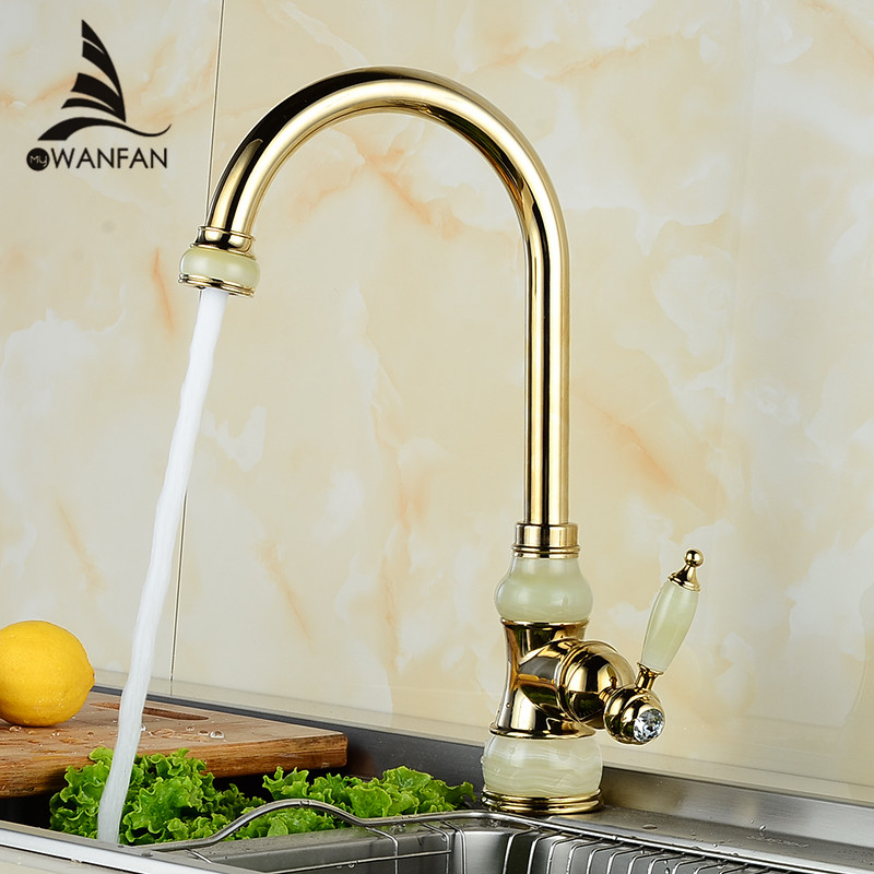 Kitchen Faucets Brass with Marble Kitchen Crane Single Handle Gold Finish 360 Swivel Mixers Taps Kitchen